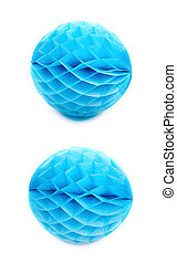 Honeycomb pom-pom ball decoration isolated - Blue honeycomb...