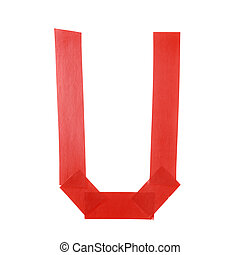 Letter U symbol made of insulating tape pieces, isolated...