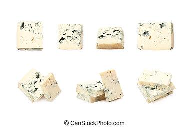 azul, queijo, fatias, isolado