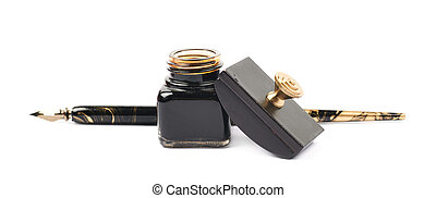 Ink writing tools composition isolated - Ink writing tools...