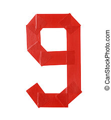 Number nine symbol made of insulating tape isolated over the...