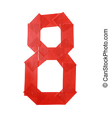 Number eight symbol made of insulating tape isolated over...
