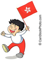 Boy holding flag of HongKong