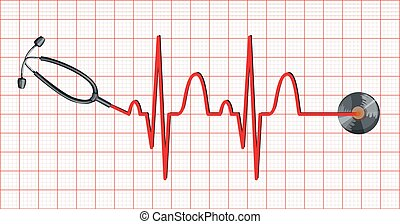 Stethoscope and heartbeats on graph paper illustration