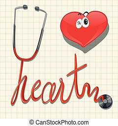 Stethoscope and heart on graph paper illustration