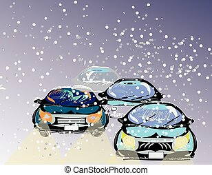 Driving Through A Snowstorm - Illustration of the cartoon...