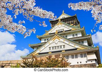 Osaka, castillo, en, Osaka, con, Cereza, flor, japón