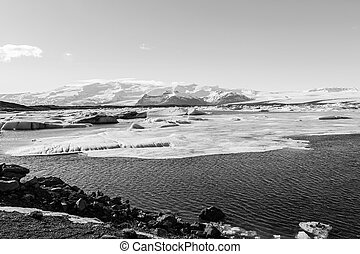 Iceland winter lagoon - Black and White, Iceland winter...