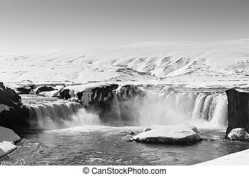 Winter waterfall Iceland - Black and White, Winter waterfall...