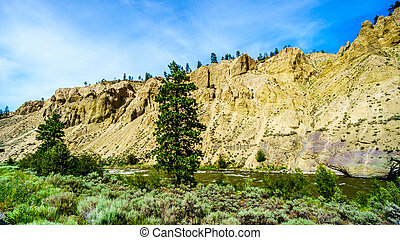 Hoodoos along the Nicola River and Highway 8 between Merritt...