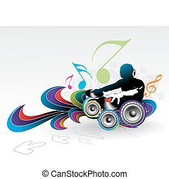 music theme - Abstract vector illustration of an dj man...
