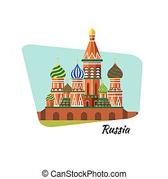 Welcome to Russia. St. Basil's Cathedral on Red square - vector stock flat illustration. Landscape design.