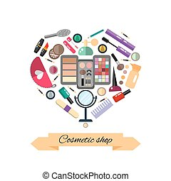 Beauty store with cosmetic objects: mascara, gloss, eyeshadow, lipstick, cream, blush, perfume. Make-up objects. Vector flat illustrations make up cosmetic.