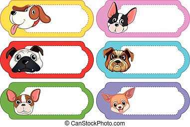 Label design with cute dogs