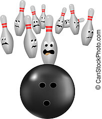 bowling - vector bowling pins scarred of bowl