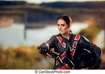 Beautiful Female Motocross Racer