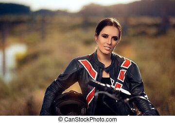 Beautiful Female Motocross Racer - Portrait of a cool sports...