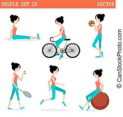 Sports girl. Active lifestyle. Vector