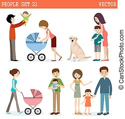 Vector set of people with children and dog on a white...