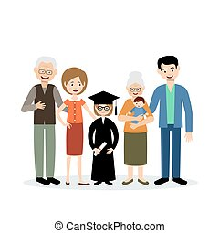 Big family with the child graduate on a white background