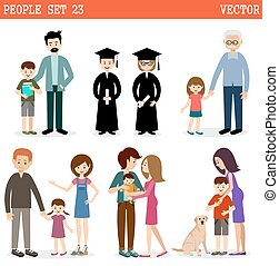 Vector set of people with children on a white background....
