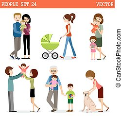 Vector set of people with children. Parents, children,...