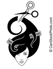 illustration of girl with hairdressing accessories in her...