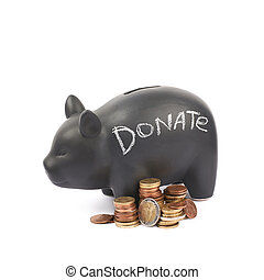 Ceramic piggy bank container isolated - Word Donate written...