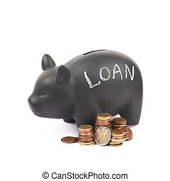 Ceramic piggy bank container isolated - Word Loan written...