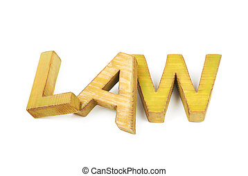 Word made of wooden letters isolated - Word Law made of...