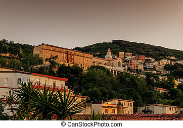 Sardinia, Italy: Mountain town Lanusei in the sunset