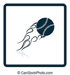 Baseball fire ball icon. Shadow reflection design. Vector...
