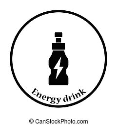 Icon of Energy drinks bottle Thin circle design Vector...