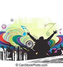 urban party concept, silhouettes of group dancing , vector...