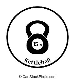 Kettlebell icon Thin circle design Vector illustration