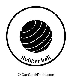 Icon of Fitness rubber ball. Thin circle design. Vector...