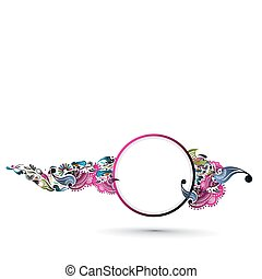 sample text banner - A vector illustration with floral swirl...