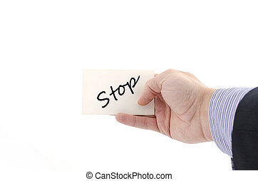 Stop text concept isolated over white background
