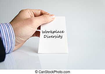 Workplace diversity text concept over white background
