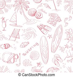 Pattern of doodle sketch Surfing icons Isolated vector...