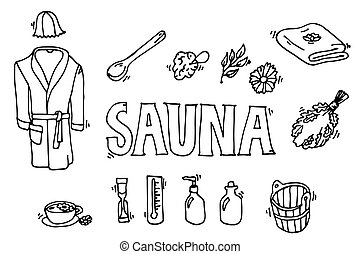 Set of sauna icons. Banya elements. Icons set. Vector...