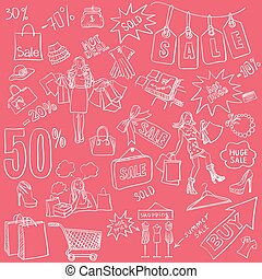 Shopping doodles Sale set. Hand drawn style