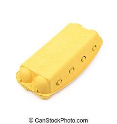 Yellow egg carton isolated - Yellow egg carton case isolated...