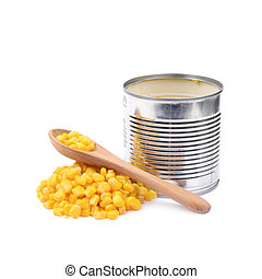 Canned corn in a tincan isolated - Tincan with a pile of...