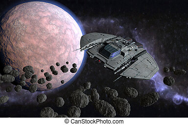 3d cosmic scene - 3d cosmic illustration with spaceship...