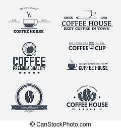 Coffee house emblems - Set of retro logo and emblems, badges...