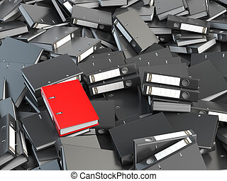 One red office binder and pile of black others. Archive....