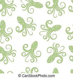 Typography lettering octopus pattern