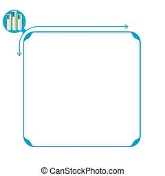 Vector blue box to fill your text and test tubes