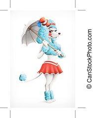Actress circus, poodle, cartoon character, vector mesh